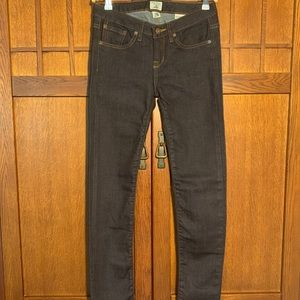 Rail car fine goods dark wash skinny jeans